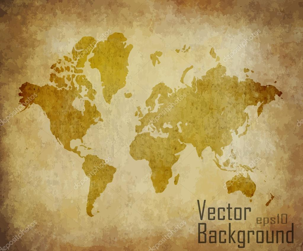 World map with track lines in vintage pattern