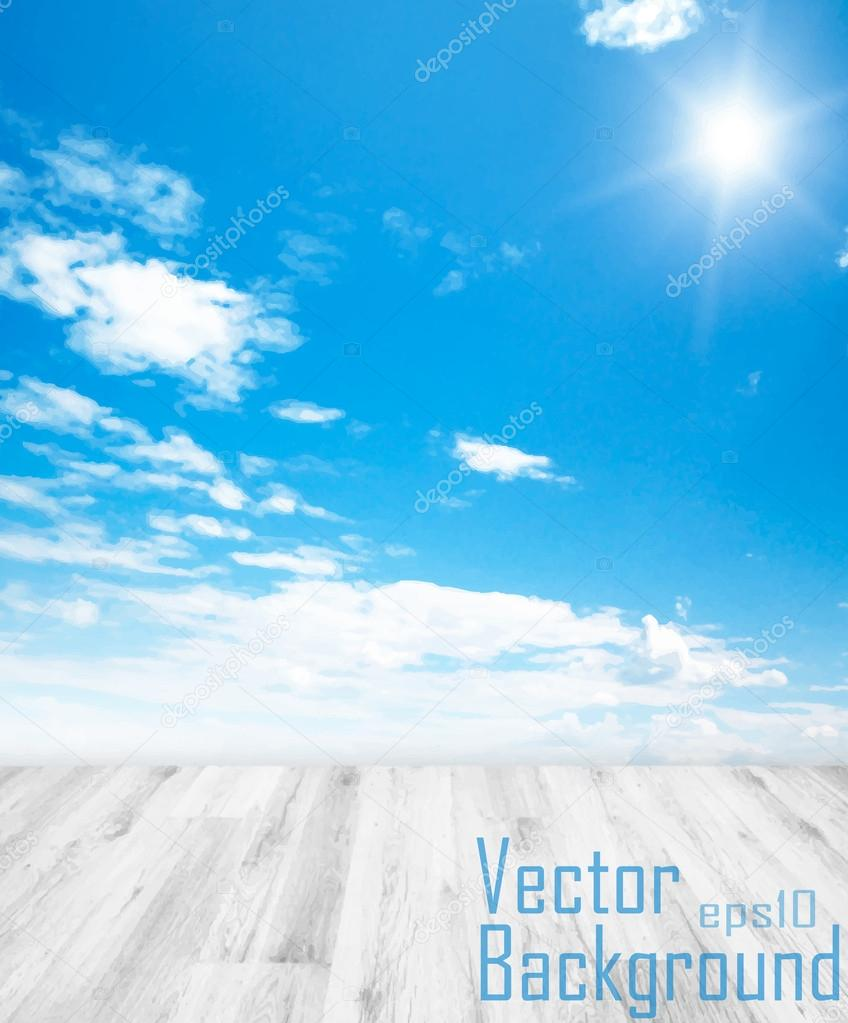 Vector background of wood and sky.