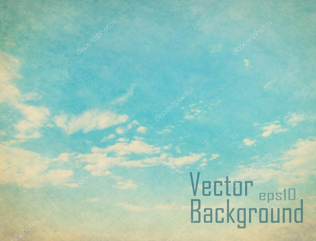 Vector retro sky. Vintage vector background.