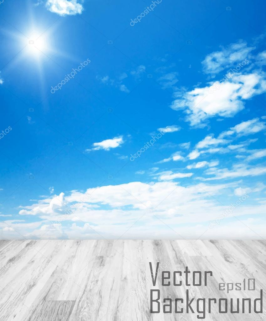 Vector - Concept Background with white floor and blue sky with s