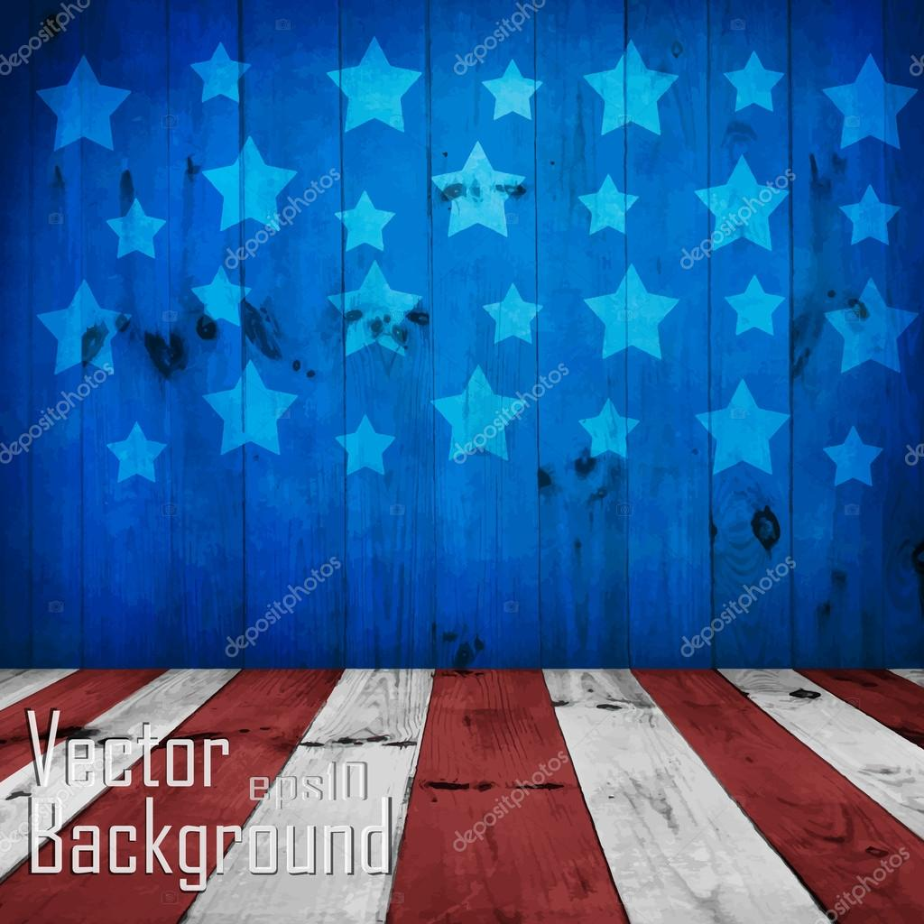 Vector - USA style background - empty wooden table for display m