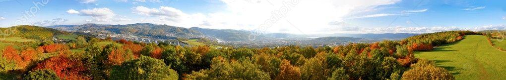 Autumn panorama of mountains