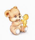 Cute Teddy bear with baby bear