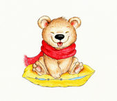 Cute Teddy bear sitting on pillow
