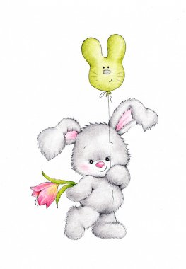Cute bunny with flower and balloon