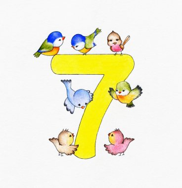 Number 7 and seven birds