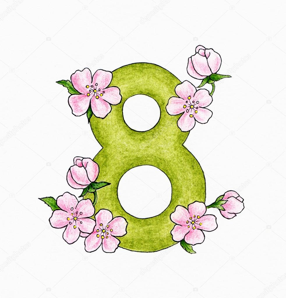 Number and flowers — stock photo tchumak
