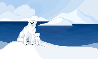 White polar bear with a cub in front of polar landscape