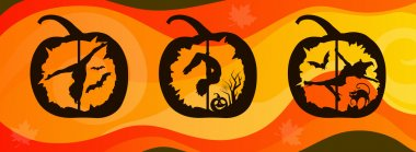 Silhouettes of Pole Dancers Carved in Halloween Pumpkin on abstract background