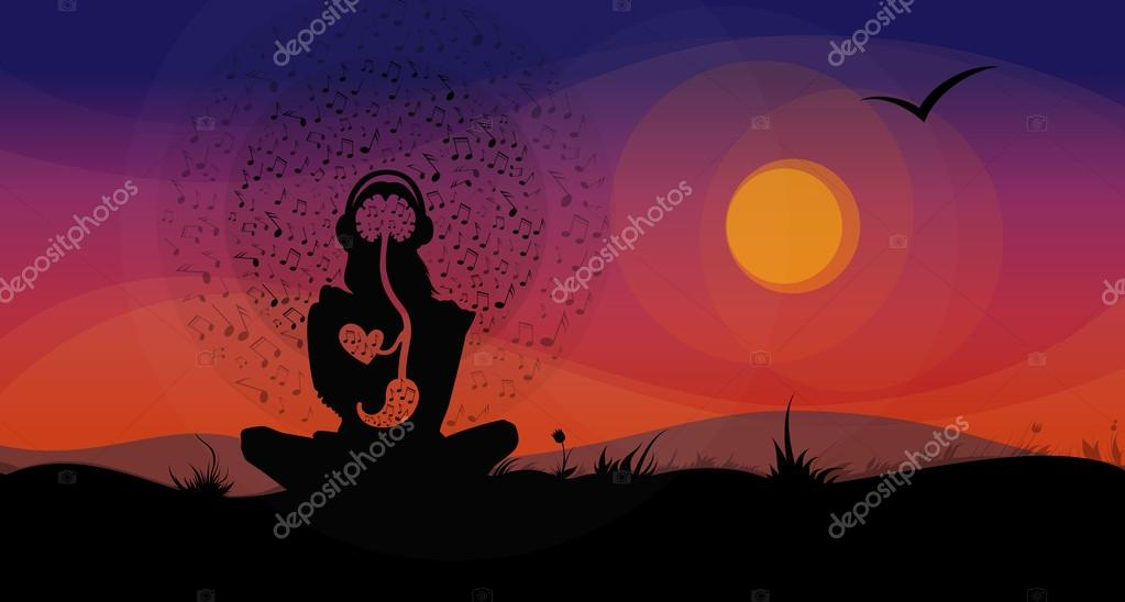 Silhouette of Girl, Sitting on the Hill in Front of Sunset, Listening to the Music.