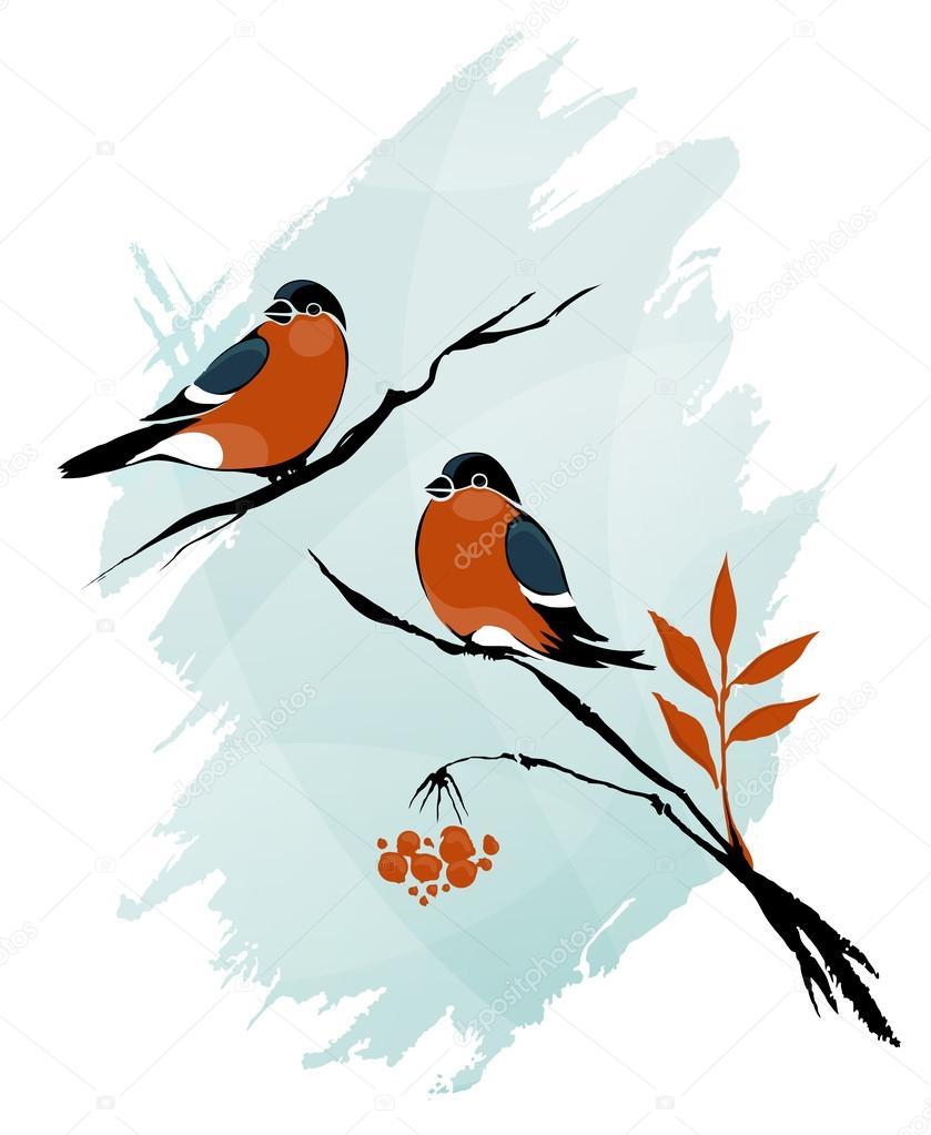 pássaros de inverno contorno na tinta de ramos em estilo aquarela