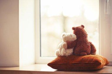 Two embracing teddy bear toys sitting on window-sill