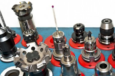 CNC tools. Milling industry. Closeup.