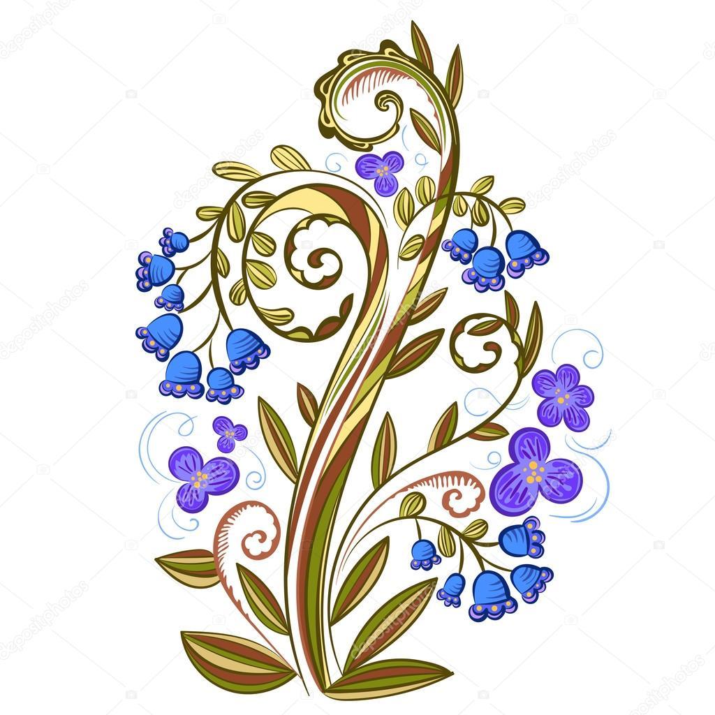 Цветок узор цветной