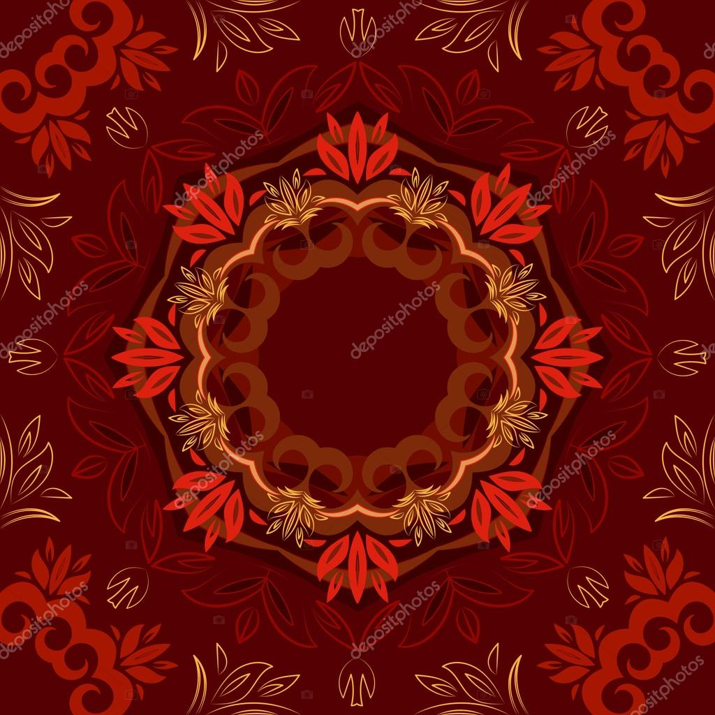 Abstract red floral background with round vector pattern