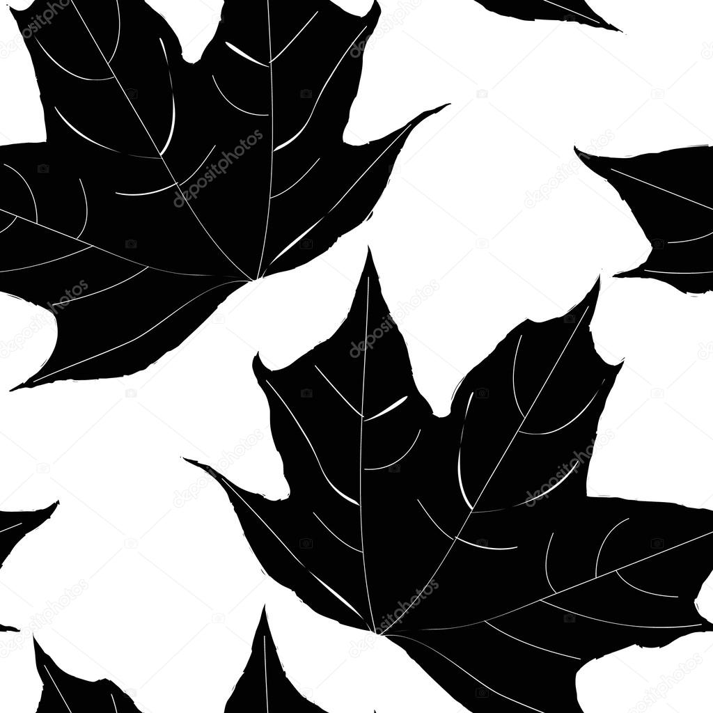 Black and white seamless pattern of maple leaves. Vector eps10.