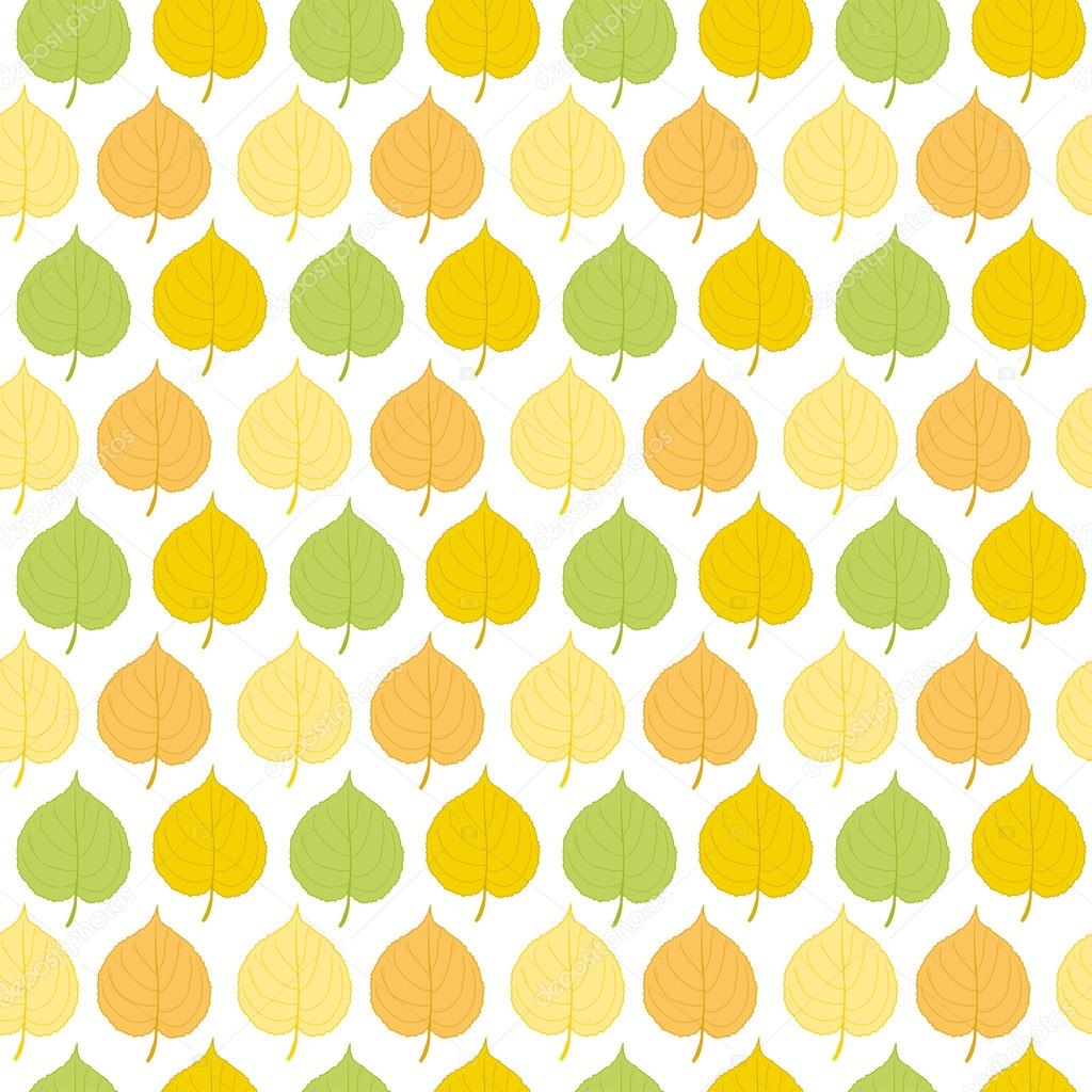 Light seamless pattern of autumn leaves of linden. Vector eps 10.