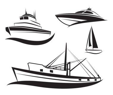 Vector black ship and boat set