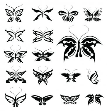 Butterflies silhouettes isolated