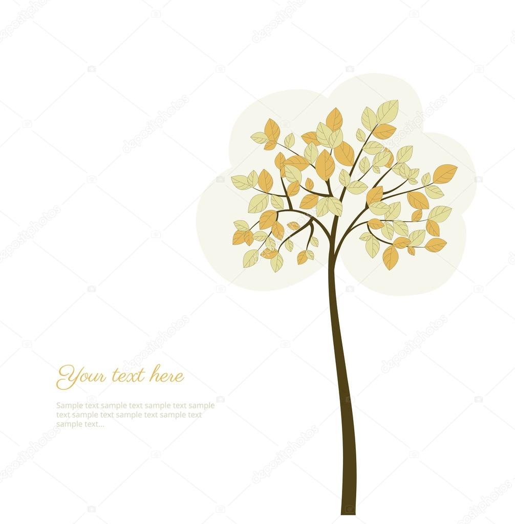 Stylized  tree with natural leaves. Beautiful background. Card