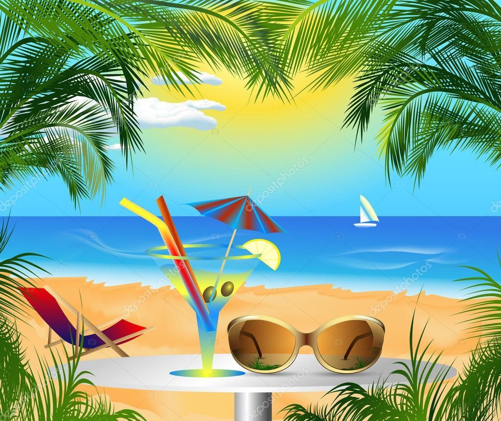 Открытка с морем и пляжем