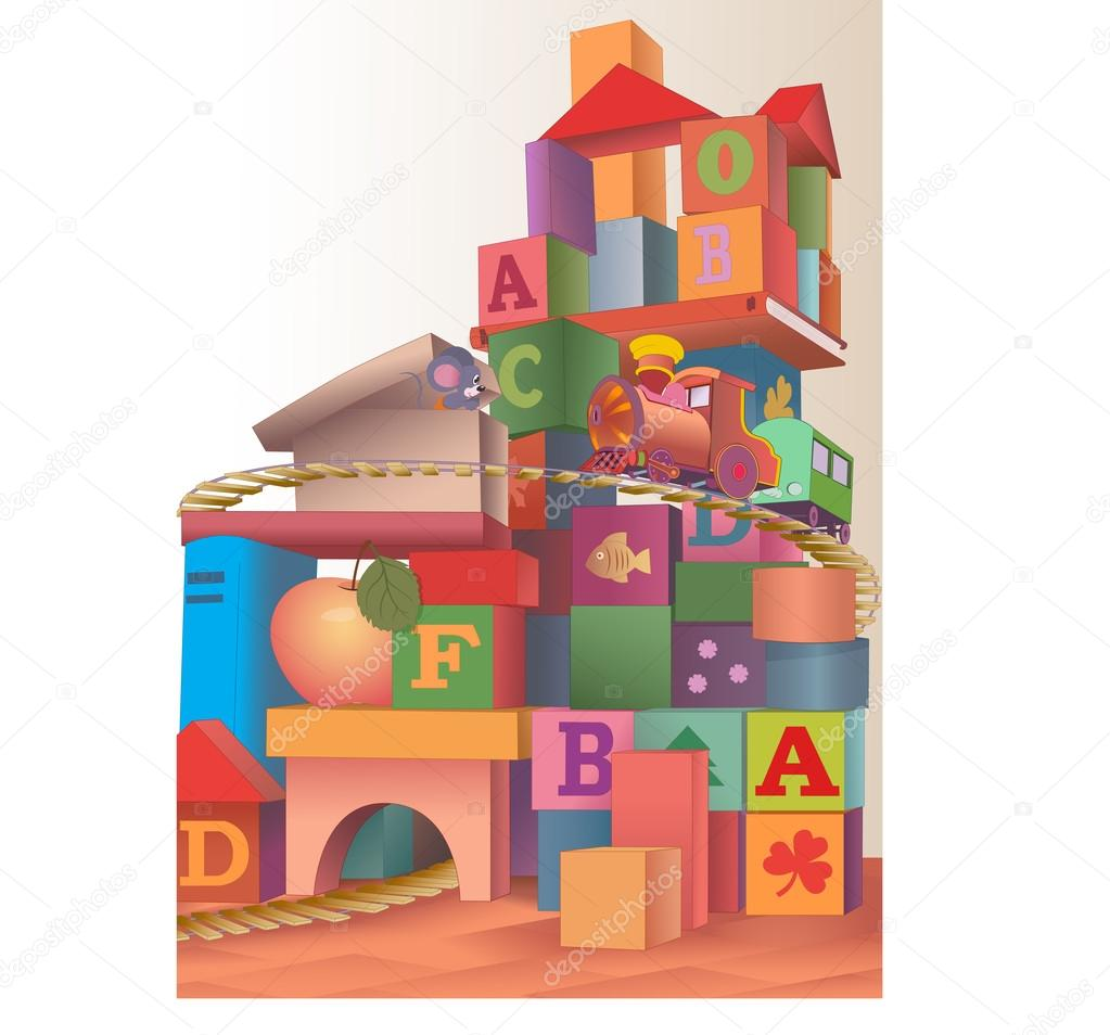 The illustration of the large construction various items, toys and cubes for children's play. It is a children's railway and locomotive. Made on separate layers, in a cartoon style. stock vector