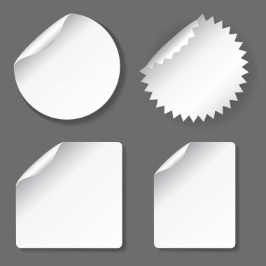 Vector blank, white stickers set, different shapes stock vector