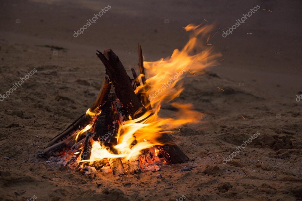 Bonfire on the sandy beach