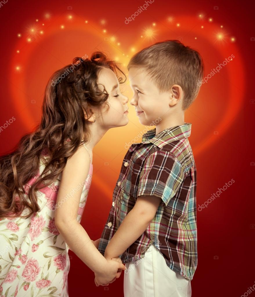 Boy and girl kissing clipart.