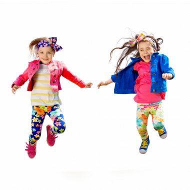 Cute happy children jumping on white background
