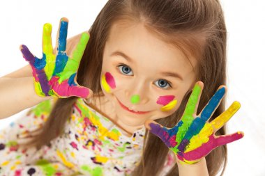 Funny little girl with hands painted in colorful paint. Isolated on white background stock vector
