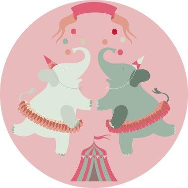 Retro circus animal vector character. Elephants.
