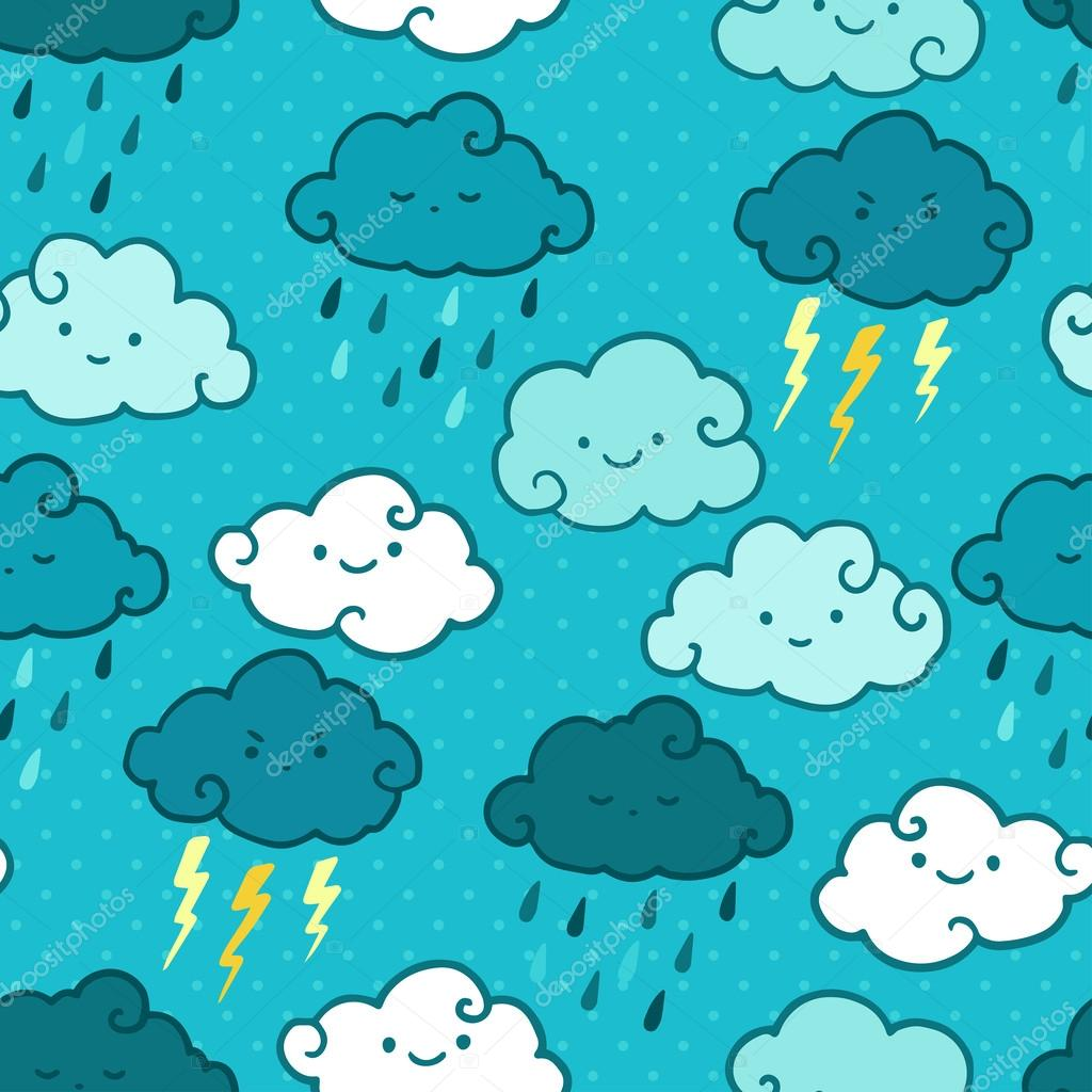 Child drawing style rainy clouds seamless vector pattern.