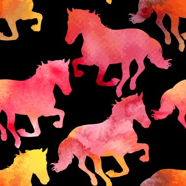 Vector seamless pattern with horses silhouettes, decorated with