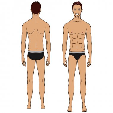 Caucasian standing man, full length portrait : front and back.