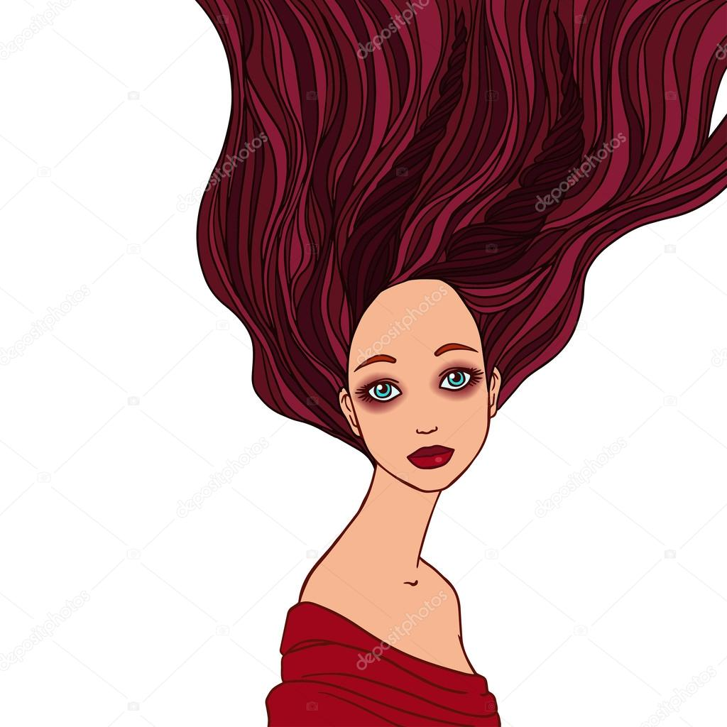 Illustration of Capricorn astrological sign as a beautiful girl.