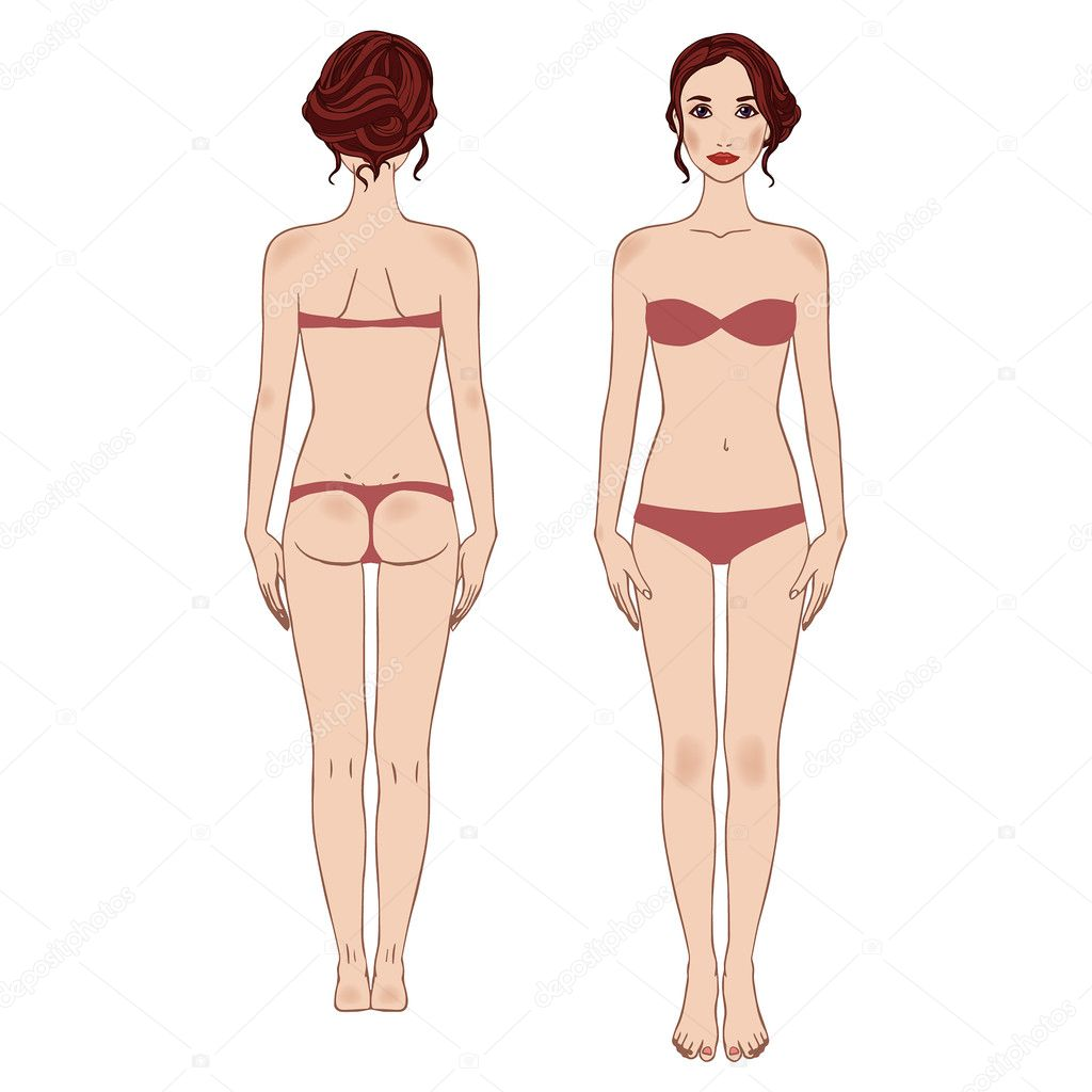 Caucasian standing woman, full length portrait : front and back.