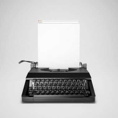 Typewriter with computer window