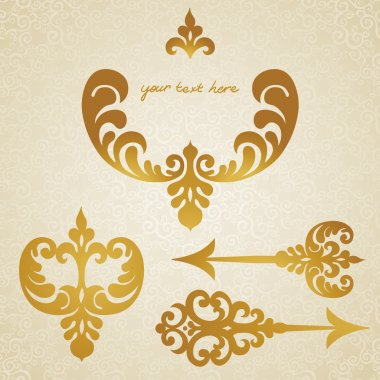 Vector set of scrolls, vignettes and arrows in Victorian style.