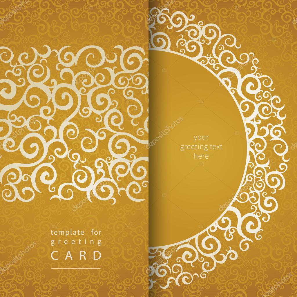tarjetas de invitación vintage con adorno de encaje de oro — Archivo ...