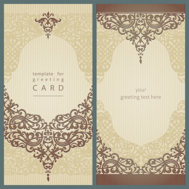 Vintage greeting cards with swirls and floral motifs in retro style.