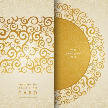 Vintage invitation cards with lace gold ornament.