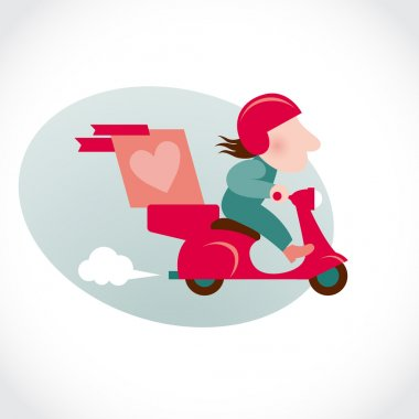 Funny pizza delivery man on red motorbike.