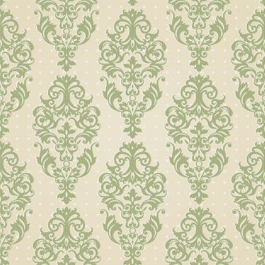 Vector seamless pattern with swirls and floral motifs in retro style.