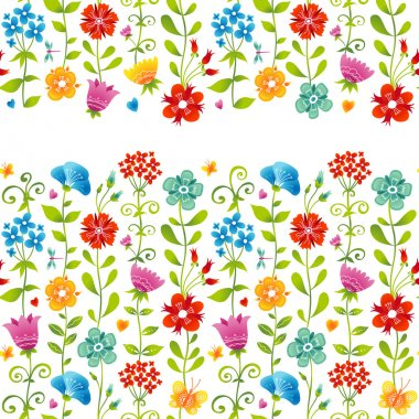 Bright floral seamless border with butterfly.