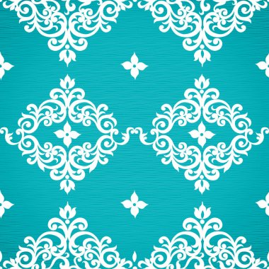 Seamless pattern with swirls and floral motifs
