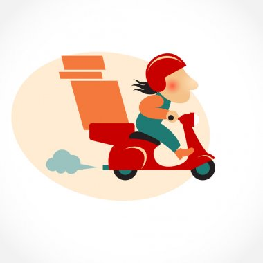 Funny pizza delivery man on red motorbike
