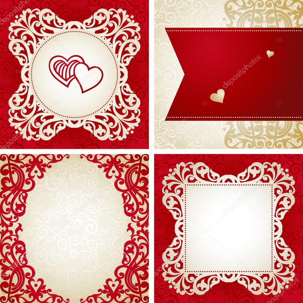 diseño de marco de plantillas para tarjetas de boda retro — Vector ...