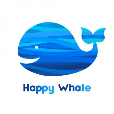 Cheerful whale. Silhouette