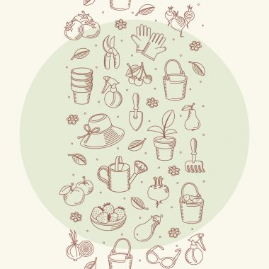 Vector seamless border of hand drawn garden tools, vegetables and fruits
